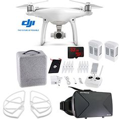 DJI Phantom 4 Advanced Quadcopter Drone FPV Virtual Reality Experience includes Drone Virtual Reality Viewer Intelligent Flight Battery Propeller Guards and 32GB microSDHC Memory Card -- You can find out more details at the link of the image.