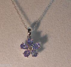 "Tanzanite & .005 carat Diamond 14k White Gold Pendant + 16"" Chain & Gift Box"