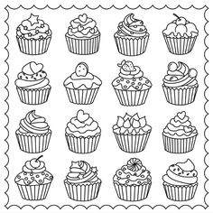 Free Cupcake Anatomy Coloring Pages from Cupcake Coloring Pages. Yummy, cupcake coloring pages are on this page. The good one is they are very colorful and beautifully decorated cupcakes, perfect for coloring! Cupcake Coloring Pages, Ice Cream Coloring Pages, Shopkins Colouring Pages, Easy Coloring Pages, Coloring Pages To Print, Printable Coloring Pages, Coloring Books, Cartoon Cupcakes, Cupcake Painting