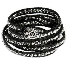 Black Leather Crystal Five Wrap Bracelet