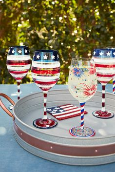 Give your wine the freedom to breathe with hand-painted wine glasses from Pier These handblown glasses feature patriotic designs that are so festive, you can pull them out anytime, holiday or not. Wine Glass Crafts, Wine Craft, Wine Bottle Crafts, Wine Bottles, Bottle Art, Diy Wine Glasses, Hand Painted Wine Glasses, Stemless Wine Glasses, July Crafts