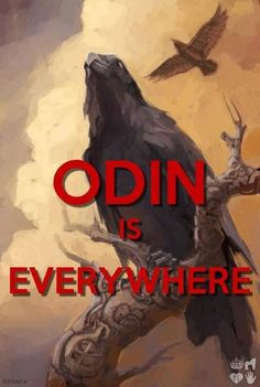 Odin is often depicted with two Ravens, his Ravens were his seers- everywhere.