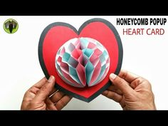 Honeycomb Popup Heart Card for Valentine's Day - DIY Tutorial - 882 - YouTube