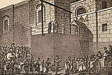 Outside the debtor's door of Newgate Prison in London, opposite the Old Bailey, the hangman plies his trade with another client. Historical Fiction Authors, Victorian Angels, Victorian London, Vintage London, British Prime Ministers, Regency Era, Colonial Williamsburg, Old London, British History