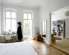 White walls, bamboo floors?