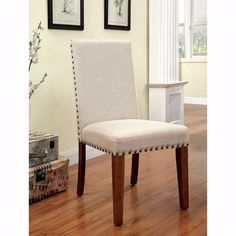 Benzara Walsh Industrial Side Chair With Flax Fabric, Wood, Set of 2, Tone