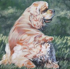 American Cocker Spaniel dog art CANVAS print of LA Shepard painting 12x12 by TheDogLover on Etsy https://www.etsy.com/listing/66540289/american-cocker-spaniel-dog-art-canvas