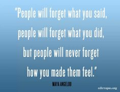 People will forget...