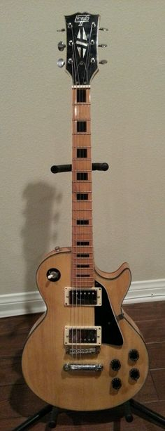 Hondo Vintage Single Cut Electric Guitar Blonde with Black Inlays