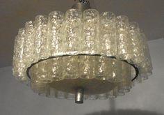 Mid Century 60´s Doria Design 2 Tier Glass Tube Ceiling Lamp#<