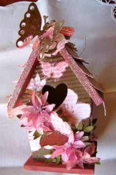 Pink BUTTERFLY FRONT ALTERED MINI WOOD BIRDHOUSE by Glamour - Cards and Paper Crafts at Splitcoaststampers