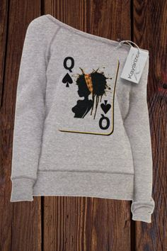 The Queen Card - Women's Sponge Fleece Wide Neck Sweatshirt Cute Casual Outfits, Chic Outfits, Fall Outfits, Fashion Outfits, Jogging Style, Look Plus Size, Statement Tees, Sweat Shirt, Swagg