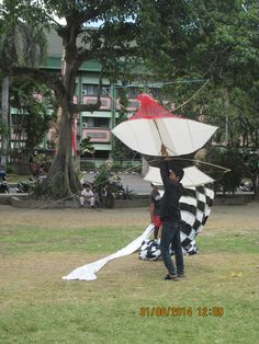 Launching the kite with the longest tail.