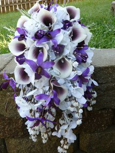 Cascading picasso calla lily hydrangea bouquet by DressMyWedding