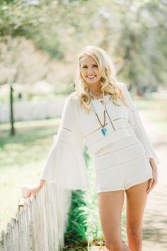 White boho top and shorts. #summer #fashion