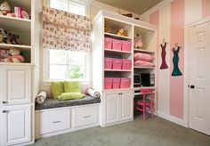 window seat with built-ins for a girl's bedroom. love the built-in desk and stripes.