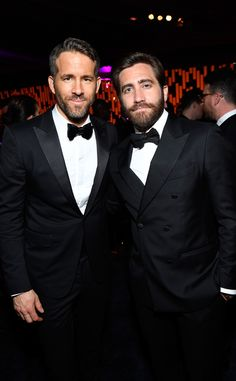 Ryan Reynolds & Jake Gyllenhaal from Golden Globes 2017 Party Pics  The dapper men looked like twins in their dark suits and matching beards at the InStyle and Warner Bros. after-party.