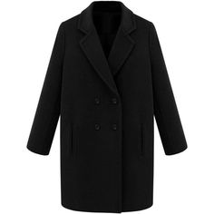 Choies Black Double Breasted Lapel Loose Pea Coat (165 PLN) ❤ liked on Polyvore featuring outerwear, coats, black, black peacoat, black double breasted coat, black coat, pea jacket and peacoat coat