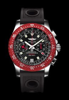 large red and black breitling watch - web credit here - http://www.aviationexplorer.com/aviation_watches.html