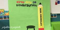 """Today I helped out in my mom's classroom to create a """"First Day of Kindergarten"""" photo booth. During Meet the Teacher Night, the parents will have a fun spot to capture a photo of their kindergartner in their new classroom. We used green butcher paper for the backdrop (2 sheets wide), yellow paper for the …"""