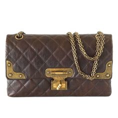 CHANEL bag medium double flap brown distressed leather antique brass unique 1