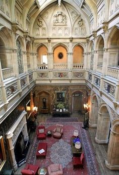 Downton Abbey and Highclere Castle interiors - Saloon-View-from-Gallery-above | www.myLusciousLife.com