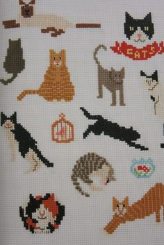DIY, arts and crafts inspiration and projects Elephant Cross Stitch, Cross Stitch Owl, Cat Cross Stitches, Cross Stitch Embroidery, Cross Stitch Patterns, Hello Kitty Wallpaper, Simple Embroidery, Bead Loom Patterns, Cat Pattern