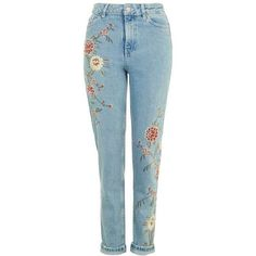 TopShop Moto Floral Embroidered Mom Jeans (675 DKK) ❤ liked on Polyvore featuring jeans, pants, mom jeans, denim, highwaist jeans, cuff jeans, high rise jeans, tapered leg jeans and high-waisted jeans