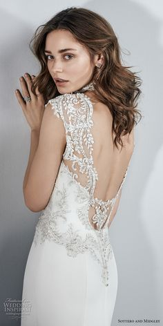 Sottero and Midgley Kai - Beaded lace appliqués accent the bodice, illusion sweetheart neckline, illusion cap-sleeves, and illusion scoop back in this Aldora Crepe wedding dress. A gorgeous illusion cutout train accented in beaded lace appliqués completes Crepe Wedding Dress, Elegant Wedding Dress, Perfect Wedding Dress, Dream Wedding Dresses, Bridal Dresses, Backless Wedding, Sottero And Midgley Wedding Dresses, Sottero Midgley, Bella Bridal