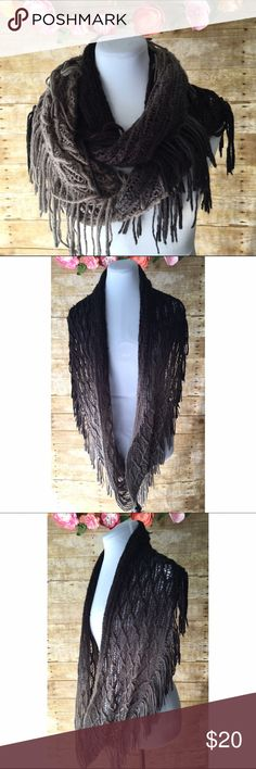 Boho Style Fringed Infinity Scarf Cute & trendy, boho style infinity scarf with fringe detail. Half is black & half is gray. Preloved & in good condition! Accessories Scarves & Wraps