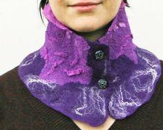 scarf, collar, women fashion, nuno felted, wool, silk, handmade