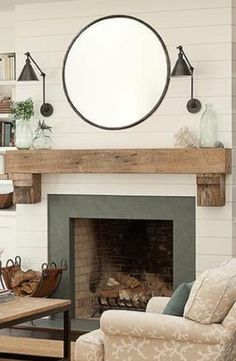 Shiplap on fireplace, rustic mantle, also the coffee table ...