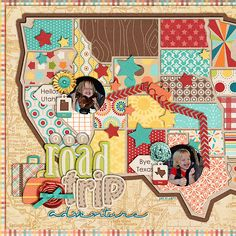 OK this is such a cute idea!! Making map with different papers! I have to do this for my mom! She has been looking for a map to scrap her trip with. Road trip adventure from Sweet Shoppe gallery, NatalieKW