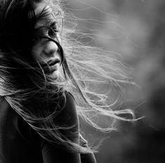 windblown hair