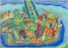 """""""Voordat ik ga tekenen moet ik eerst strak nadenken. Ik ga goed bekijken, waar ga ik dit neerzetten. Ik kijk goed hoe de kleuren in de natuur bij dieren en planten er uitzien. Bij de mensen verzin ik het zelf."""""""