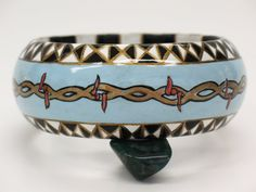 Barbed Wire Jewelry Bracelet Exclusive Wearable Art Bangle Blue CONTEMPORARY bracelet on Etsy, $300.00