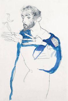 Egon Schiele, Gustav Klimt in blue smock, 1913