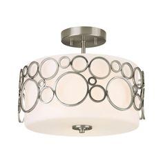 Progress Modern Semi-Flushmount Ceiling Light with White Glass | P3741-09 | Destination Lighting