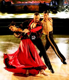 """Dancing With the Stars - Val Chmerkovskiy, Rumer Willis & Artem Chigvintsev dance a spectacular """"Paso Doble"""" - to David Hirschfelder & The Bogo Pogo Orchestra's """"Scott & Fran's Paso Doble"""" - season 20 - week-8 - spring 2015 2015 Week 8 - score - 10+10+10+10 = 40 - &, after 2 perfect scores, danced an encore the following results night"""