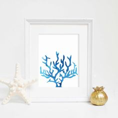 This blue watercolor coral silhouette print is the perfect addition to any home, nursery or office! Stop waiting for shipping – these files are