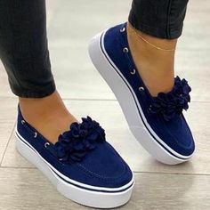 Laamei Women Flats Shoes Platform Sneakers Slip On Flats Leather Suede Ladies Loafers Casual Floral Shoes Women Zapatos Color Pink Shoe Size 35 Casual Heels, Casual Sneakers, Bow Sneakers, Women's Casual, White Sneakers, Suede Shoes, Loafer Shoes, Leather Loafers, Women's Shoes