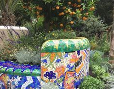 Chelsea Flower Show 2017 artisan garden 'Viking CruisesGarden of Inspiration' designed by Sarah Eberle. The garden, built to reflect a public park in Barcelona and the work of Antoni Gaudi, was awarded a Gold Medal by the Royal Horticultural Society