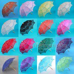 Handmade Embroidery Battenburg Lace Wedding Parasol Bridal Party Decor Umbrella #Handmade #Parasol