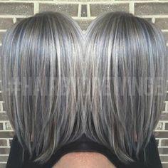 grey balayage and I love the cut Grey Balayage, Balayage Hair, Hair Color And Cut, Haircut And Color, Grey Hair Don't Care, Transition To Gray Hair, Silver Grey Hair, Hair Affair, Hair Highlights