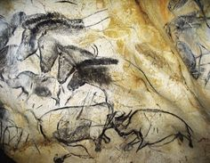 Lascaux France Cave Painting Rhino | frieze of horses and rhinos near the Chauvet cave's Megaloceros ...