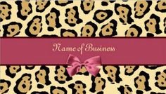 Trendy Jaguar Print With Pink Ribbon Business Name Business Cards  - $21.95