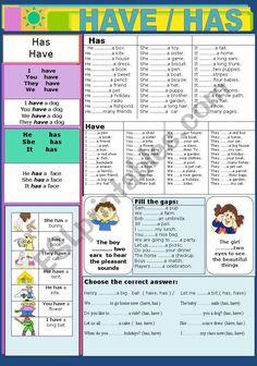 Have / Has - ESL worksheet by jhansi English Grammar For Kids, Learning English For Kids, Teaching English Grammar, English Worksheets For Kids, English Lessons For Kids, English Verbs, English Language Learners, Learn English Words, English Study