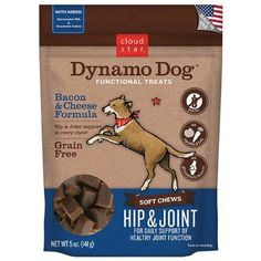 Dynamo Dog Grain Free Nautural Soft Chew Treat Hip Joint Bacon Cheese Formula 5z