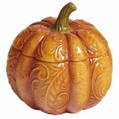 "Pumpkin Lidded Bowl (Pier 1) (dolomite; hand-painted; dishwasher-safe; microwavable; 6"" Dia x 5.50"" H)"