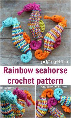 Very realistic seahorse crochet pattern. Amigurumi seahorse crochet pattern. Rainbow, ocean, sea life crochet.